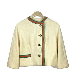 Vintage Cream Tweed Gold-Button Jacket